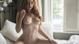 women, Jack Russell, Sophia Blake, redhead, tanned, nude, belly, boobs, nipples, kneeling, in bed, shaved pubic hair