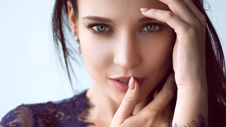 Angelina Petrova, women, face, portrait, model, closeup, finger on lips