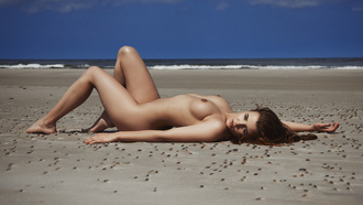 women, tanned, nude, sand, Roman Prosek, boobs, nipples, sea, lying on back, women outdoors