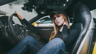 women, baseball caps, blonde, pants, jeans, sitting, women with cars, car, Fotoshi Toshi aka Anton Harisov, Anton Harisov, portrait