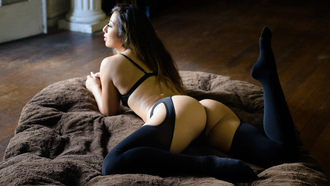 Kat Sweets, women, ass, Marvin Chandra, back, black lingerie, brunette, lying on front, looking away