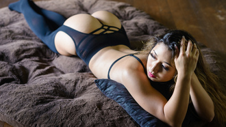 women, Kat Sweets, ass, black lingerie, Marvin Chandra, lying on front