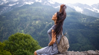 women, Angelina Petrova, model, dress, Denis Petrov, sitting, women outdoors, closed eyes, depth of field, mountains