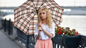 women, blonde, dress, tattoo, depth of field, umbrella, portrait, eyeliner, Maksim Romanov