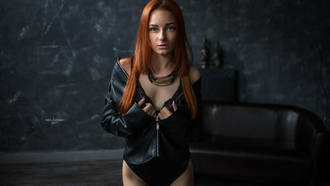 women, redhead, portrait, necklace, black lingerie, leather jackets