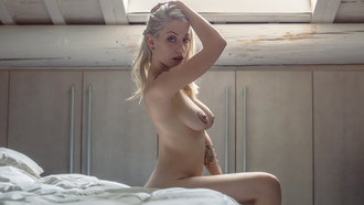 women, blonde, nude, sitting, bed, boobs, nipples, pierced nipples, tattoo