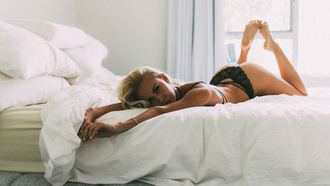 women, blonde, tanned, black lingerie, lying on front, ass, in bed