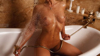 women, nude, tanned, wet body, belly, pierced navel, boobs, Igor Sheller, necklace, kneeling, water, bathtub