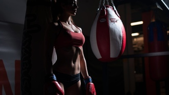 women, sportswear, belly, boxing gloves, tanned, gyms, necklace, looking away