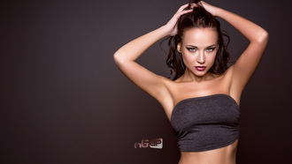 women, Angelina Petrova, model, tanned, belly, portrait, armpits, hands on head, red lipstick, simple background