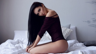 women, brunette, kneeling, black hair, dark eyes, smoky eyes, leotard, legs, in bed