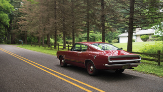 Formula S, Fastback, muscle car, дорога, деревья, 1968, Barracuda, маслкар, Plymouth, авто, road