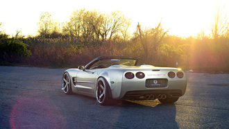 Corvette, Chevrolet, Sun, Road, Wheels