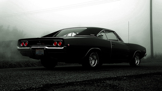 dodge, charger, rt, 1968, black, додж чарджер, мускулкар, чёрный
