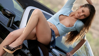 erica ellyson, girl, cars, eyes, smile, legs, tits