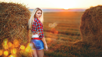 girl, ass, field, hay, blond, look, beautiful