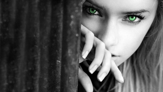 girl, face, green eyes, beautiful