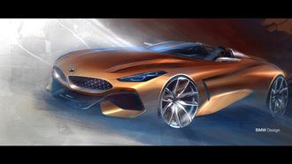 бмв, родстер z4, concept z4, bmw, z4, car wallpaper, машины 2018, арт, illustration