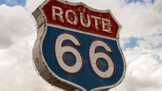 route 66, highway, sky, sign, clouds