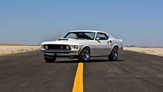 white, road, 1969, muscle car, astback, ord ustang oss 429