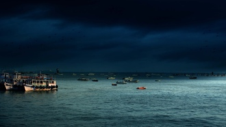 ships, ocean, water, island, dark clouds