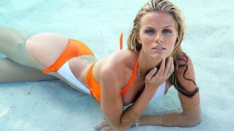 актриса, позирует, бассейн, бруклин декер, brooklyn decker, в купальнике