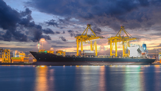 crane, cargo, ship, industrial, shipyard, logistic, dusk