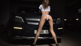 women, ass, back, car, white panties, sneakers, brunette, tank top, tattoo