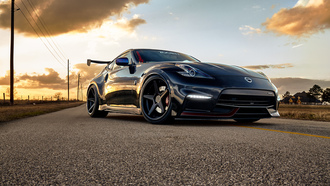 nissan, nismo, 370z, black, машина, дорога, фары, диски