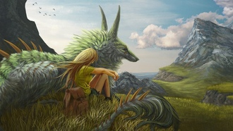 landscape, meadow, mountains, blonde, creature, sea, fantasy art, ragon, clouds, artwork, fantasy, sky, trees, grass, girl, painting art