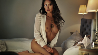 women, tanned, kneeling, boobs, nipples, in bed, white shirt, lamp