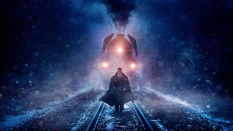 cinema, film, mustache, smoke, movie, train, tie, urder on the rient xpress, snow, enneth ranagh, blizzard, suit