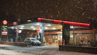 cars, snowing, winter, gas station, exaco, gas pump