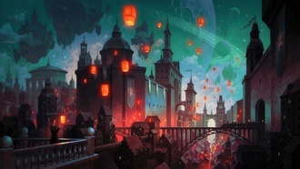 dome, lanterns, balcony, architecture, fantasy castle, buildings, fantasy art, church, digital art, planetary rings, galaxy, train, artwork, man, stars, fantasy, fantasy city, astle, city, cityscape, tower, bridge, planet