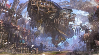 street, futuristic, airship, teampunk, city, ruins, steampunk airship, streetlight, fantasy, artwork, ropes, painting, fantasy art, people, buildings, birds