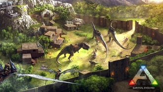 gate, portal, spear, arms, prehistoric animals, blades, forest, base operations, base advanced base, dinosaurs, urvival volved