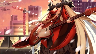 anime, guitar, city, girl, bishojo, orever 7th apital, headphone, pretty