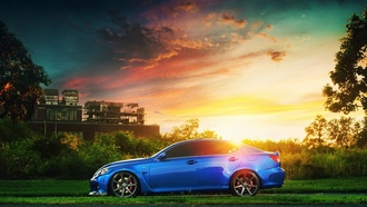 lexus, sun, is f, blue, блик, profile, завод