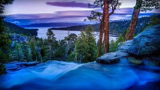 nited tates of merica, water, mountains, ake ahoe, waterfall, lake, forest, clouds, park, merald ay tate ark, sky, long exposure, pines, trees, twilight, sunset, nature, alifornia, river, rocks