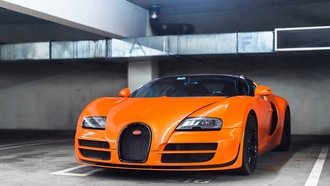 bugatti, orange, парковка