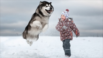 kid, dog, winter, two, game, girl