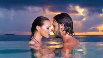 landscape, evening, water, mood, boy, sea, touching them, closeness, close eyes, swimming pool, omantic, man, sky, sensuality, love, couple, woman, feeling, girl, sunset, face, proximity