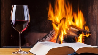 vine, fire, book