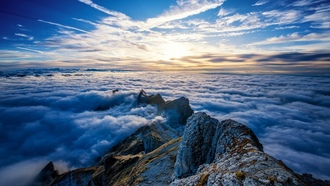 landscape, nature, sky, lps, rock, mountains, peaks, aentis ountain, witzerland, clouds
