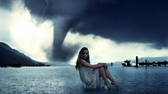 irls, irl, posing, against the, backdrop, of a tornado