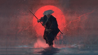 warrior, man, painting, sun, digital art, stick, amurai, red sun, art, hat, artwortk, sword, weapon