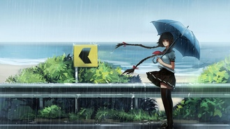 anime, umbrella, sea, girl, orieantal, uniform, asiatic, japanese, asian, seifuku