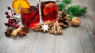 tea, punch, шишка, ождество, cookies, orange, печенье, глинтвейн, wine, merry christmas, овый од, decoration