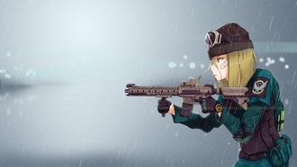 seifuku, game, anime, gun, girl, rifle, om lancys he ivision, military, weapon, om lancys, he ivision