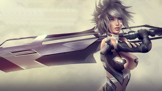 riven, xile, art, девушка, меч, грудь, moba, красавица, eague of egends